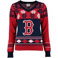 Boston Red Sox Klew Women's V-Neck Ugly Sweater - Navy