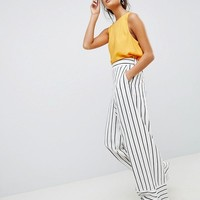 ASOS DESIGN tailored clean linen wide leg pants in stripe at asos.com