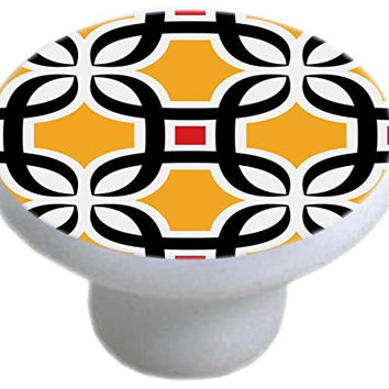 Carolina Hardware and Decor 2345 Geometric Retro Pattern Ceramic Cabinet Drawer Knob