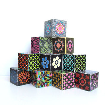 Wood Blocks Hand Painted large wood blocks set of ten hand painted wooden blocks Decorative blocks