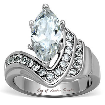 A Perfect 3.1CT Perfect Marquise Cut Russian Lab Diamond Promise Engagement Anniversary Ring
