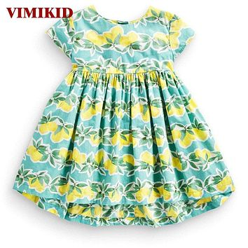 Baby Girls Dress Explosion Full of Lemon Print Lovely Fruit Short Sleeve Cotton Dress Kids Clothing