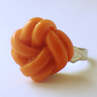 Classic love knot ring - orange -adjustable