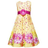 Rare Editions TWEEN GIRLS 7-16 YELLOW FUCHSIA-PINK SCATTER-DOT FLORAL BORDER PRINT Special Occasion Flower Girl Easter Party Dress.