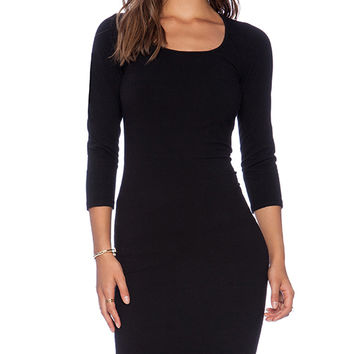 MONROW Heavy Stretch Cotton 3/4 Sleeve Dress in Black