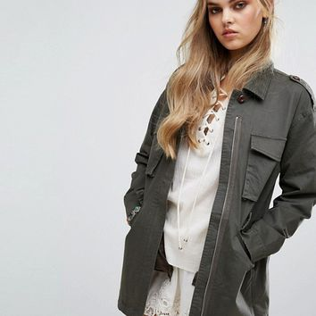 Honey Punch Oversized Military Coat Jacket at asos.com