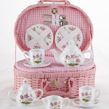 Childrens Porcelain Girls Tea Set - Pink Floral in Wicker Style Basket