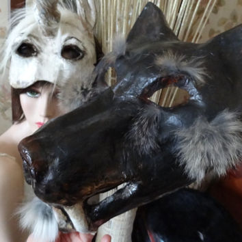 Dances with Wolves Paper mache animal mask wolf mask wolf costume
