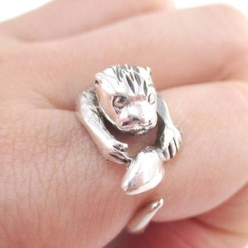 Otter Holding a Fish Shaped Animal Wrap Around Ring in 925 Sterling Silver