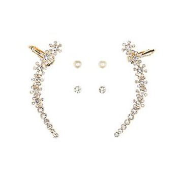 RHINESTONE EAR CUFF & STUD EARRINGS - 3 PACK