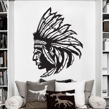 Redskin Native American Indian Chief  Wall Decal Sticker Decor Wall Art Vinyl Home decor wall stickers free shipping