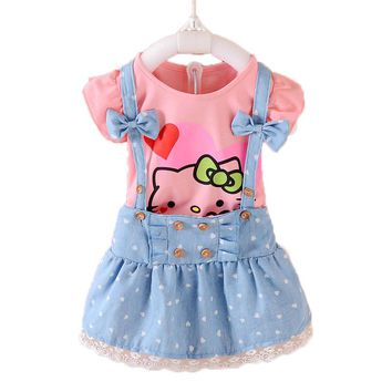 2pcs Girls Dress Summer 2017 Kids Clothes Girls Dresses Hello Kitty Cartoon Lovely Princess Toddler Girl Clothing Sets T569