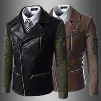 Biker Zip Men Fashion Slim Fit Leather Jacket
