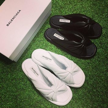 Best Online Sale Fashion Balenciaga Knotted Satin Slides Black Ivory white flip flop s