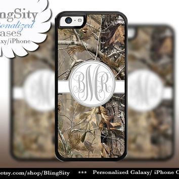 Camo Gray Grey Monogram iPhone 5C 6 Plus Case iPhone 5s 4 case Ipod Realtree Cover Personalized real tree camo Country Inspired Girl