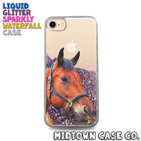 Horse Mare Stallion Country Cowgirl Cute Pretty Liquid Glitter Waterfall Quicksand Sparkles Glitter Bomb Bling Case for iPhone 7 7 Plus 6s 6