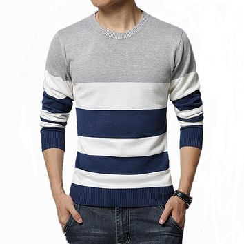 Sweater Men Casual O-Neck Striped Slim Fit Knitting Mens Sweaters And Pullover Men pull homme Brand Clothing Plus size 5XL
