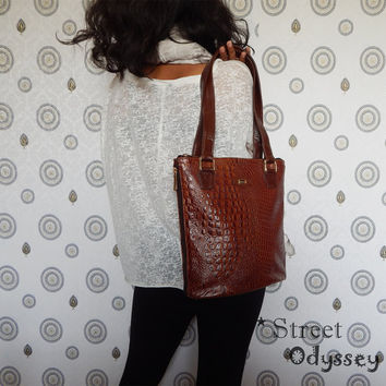 Croc Embossed Leather Bag, Brown Leather Handbag, Women's Leather Bag, Shoulder Bag, Leather iPad Bag, Tote Bag