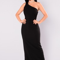 Affair Ruffle Dress - Black