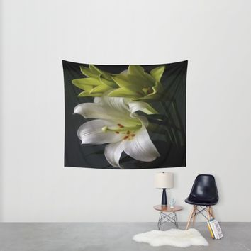 Elegant Water Lily Wall Tapestry by Colorful Art