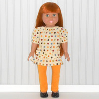 Fall Polka Dots Peasant Tunic Top and Gold Leggings for 18 inch Girl Doll Clothes