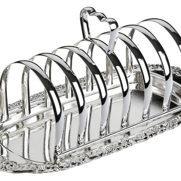 Silver-Plated Toast Rack w/ Floral Base, Toast Racks