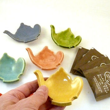 Teabag holder in shape of teapot your choice of color - trinket dish ring bowl