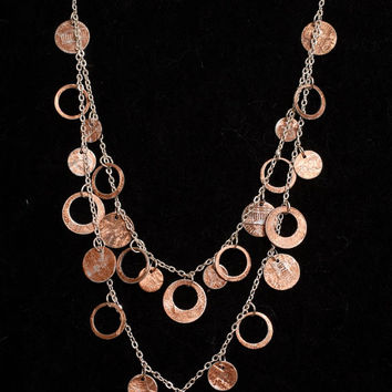 Penny Necklace- Double Layered Coin Statement Piece, Beautiful Copper and Silver Handmade Jewelry, Lucky Pennies, Good Luck, High Fashion