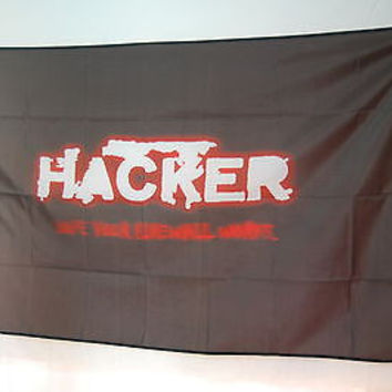 Hacker Funny basement room garage office decoration poster FLAG Banner 3x5