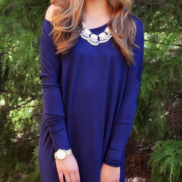 Time Well Wasted Navy Long Sleeve Dress