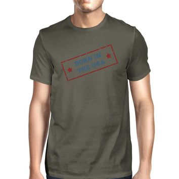 Born In The USA American Flag Tee Mens Dark Gray Graphic Tee Shirt