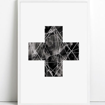 Geometric Plus sign Black cross watercolor swiss plus Black Plus Sign Print Black illustration bohemian Boho chic modern print minimalist