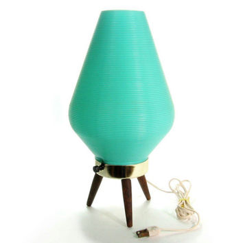 Mid Century Beehive Lamp / Danish Modern Atomic Tripod Lighting / Space Age Turquoise Aqua