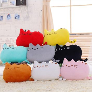 New Kawaii Plush Cat Pillow With Zipper Only Skin Without PP Cotton Biscuits Kids Toys Big Cushion Cover  Gifts 40*30cm