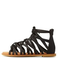 Black Bamboo Flat Lace-Up Gladiator Sandals