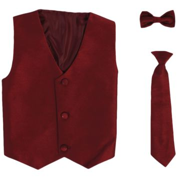 Burgundy Poly-Silk Boys Vest & Tie Set 3M-14