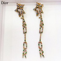 Dior New fashion multicolor diamond letter star long earring women Golden