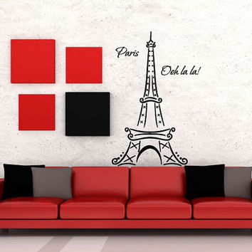 Wall Decor Vinyl Sticker Room Decal Art London Paris Eiffel Tower France 659