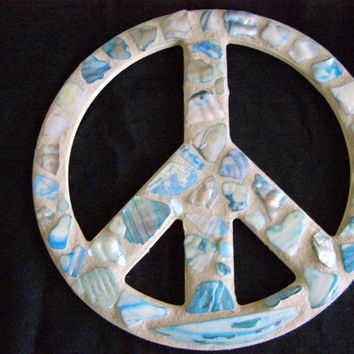 Shell Peace Sign, Blue Abalone Shell Peace Sign, Wall Art, Peace Sign, Beach Decor, Shell Decor, Beach House