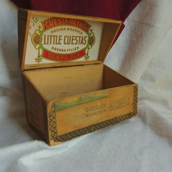 Unusual Vintage Little Cuestas Nickels Wooden Cigar Box-File Box Style - Hinged Lid-Made in Tampa Florida