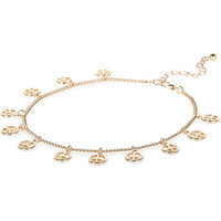River Island Womens Gold tone repeat peace symbol anklet