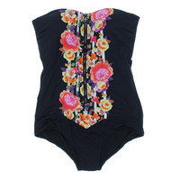 Seafolly Womens Front Zipper Floral One-Piece Swimsuit