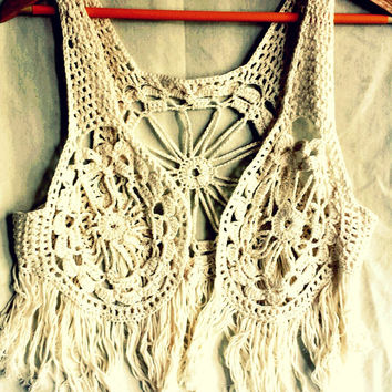Boho crochet waistcoat, festival summer wear, vintage crochet fringed lace vest, sleeveless tank, hippy top