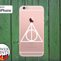White Deathly Hallows Symbol Harry Potter Inspired Clear Rubber Phone Case for iPhone 5/5s and 5c and iPhone 6 and 6 Plus + and iPhone 6s