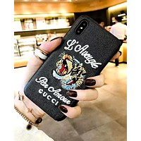 GUCCI 2019 new personality embroidery tiger head logo iPhone8plus protective case black