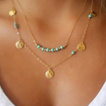 Boho turquoise layered necklace