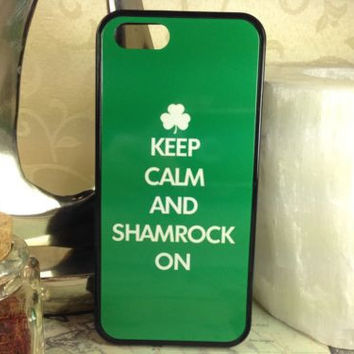 Keep Calm and Shamrock Oncell phone cover case  for Iphone 4S 5 5S 5C 6 Plus Samsung galaxy S3 S4 S5 S6 Note 2 3 4