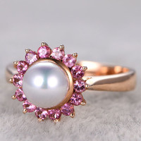 6-7mm pearl gold ring pink sapphire engagement ring Halo South sea pearls 14k/18k rose gold