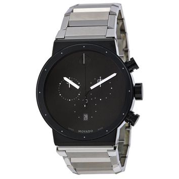 Movado Synergy Chronograph Black Dial Stainless Steel Mens Watch 0606800