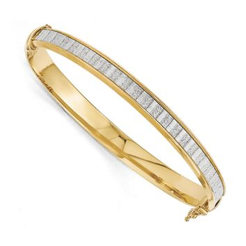 7mm Gold Tone Plated Sterling Silver & Glitter Hinged Bangle Bracelet